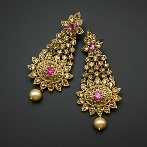 Prachi - Light Pink|Gold Diamante Earrings - Gold