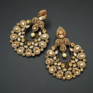 Reva- Gold Kundan / Diamante Earrings - Gold