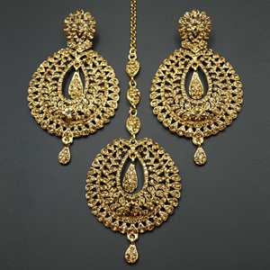 Kyra Gold Diamante Earring Tikka Set - Gold