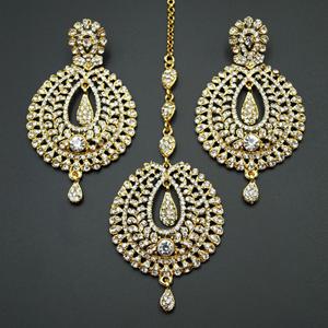 Kyra White Diamante Earring Tikka Set - Gold