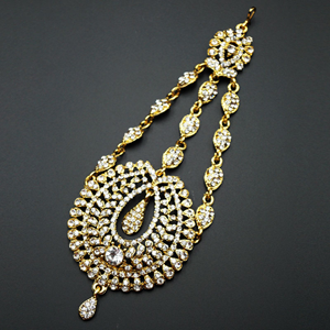 Kyra White Diamante Earring Tikka and Passa/Jhoomer Set - Gold