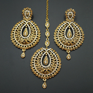 Kyra Gold and White Diamante Earring Tikka Set - Gold