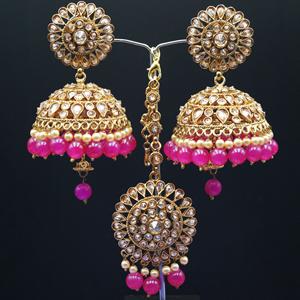 Ekana- Gold Polki Stone/ Hot Pink Beads Jhumka Tikka Set - Antique Gold