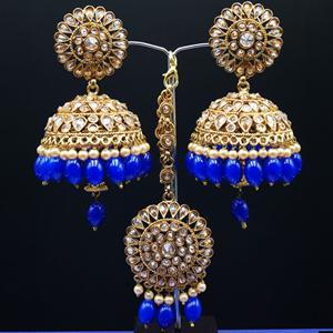 Ekana- Gold Polki Stone/ Blue Beads Jhumka Tikka Set - Antique Gold