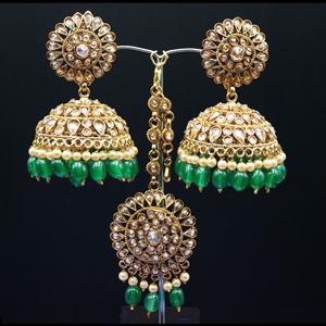 Ekana- Gold Polki Stone/ Green Beads Jhumka Tikka Set - Antique Gold