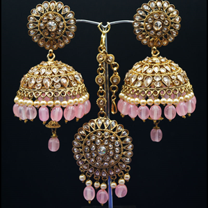 Ekana- Gold Polki Stone/ Light Pink Beads Jhumka Tikka Set - Antique Gold