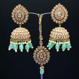 Gorka - Gold Polki Stone/ Mint Green Beads Jhumka Tikka Set - Antique Gold