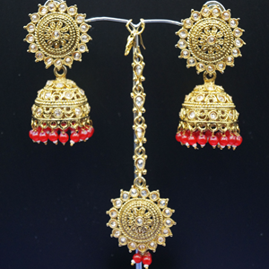 Dinar - Gold Polki /Red Beads Jhumka Tikka Set - Antique Gold