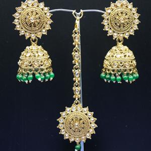 Dinar - Gold Polki /Green Beads Jhumka Tikka Set - Antique Gold