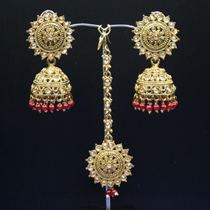 Dinar - Gold Polki /Maroon Beads Jhumka Tikka Set - Antique Gold
