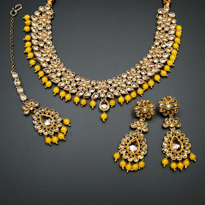 Gina-Gold Polki Stone/Yellow Bead Necklace set - Antique  Gold