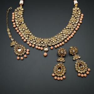 Gina-Gold Polki Stone/Light Peach Bead Necklace set - Antique  Gold