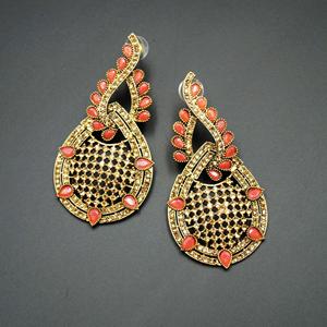 Bazz -Peach Kundan / Gold Diamante Earrings - Gold
