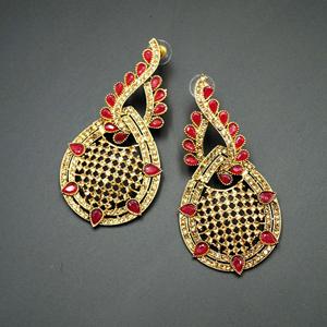 Bazz -Red Kundan / Gold Diamante Earrings - Gold
