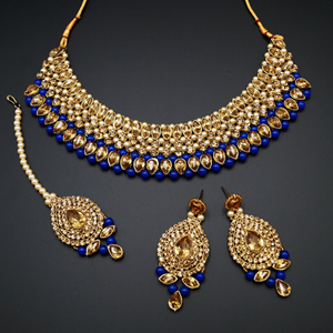 Komal Gold Diamante and Blue Beads Choker Necklace Set - Gold