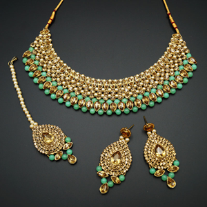 Komal Gold Diamante and Pista Choker Necklace Set - Gold