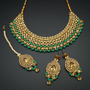 Komal Gold Diamante and Mint Choker Necklace Set - Gold