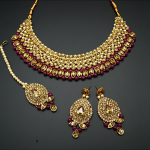 Komal Gold Diamante and Ruby  Choker Necklace Set - Gold