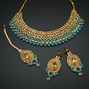 Komal Gold Diamante and Turquoise Beadsl Choker Necklace Set - Gold