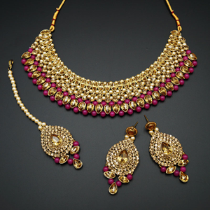 Komal Gold Diamante and Hot Pink  Choker Necklace Set - Gold