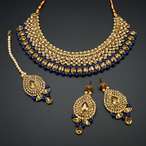 Komal Gold Diamante and Navy Blue Beads Choker Necklace Set - Gold