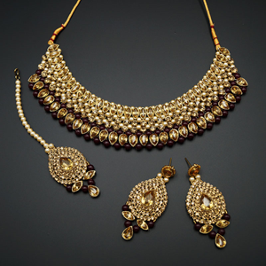 Komal Gold Diamante and Maroon Choker Necklace Set - Gold