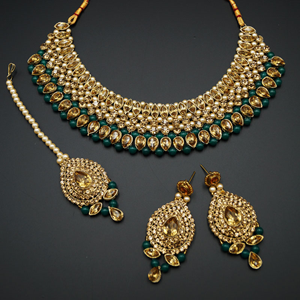 Komal Gold Diamante and Green Beads Choker Necklace Set - Gold