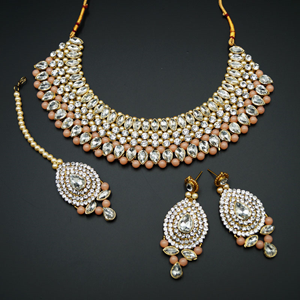 Komal White Diamante/Light Peach Beads Choker Set - Gold