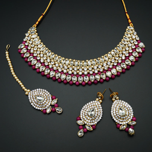 Komal White Diamante/Ruby Beads Choker Necklace Set - Gold