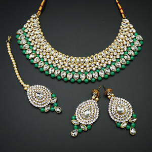 Komal White Diamante/Mint Beads Choker Necklace Set - Gold