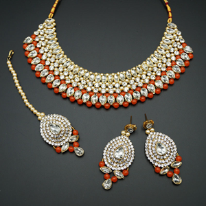 Komal White Diamante/Orange Beads Choker Necklace Set - Gold