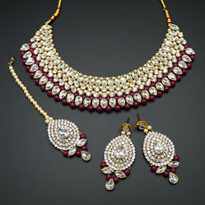 Komal White Diamante/Maroon Beads Choker Necklace Set - Gold