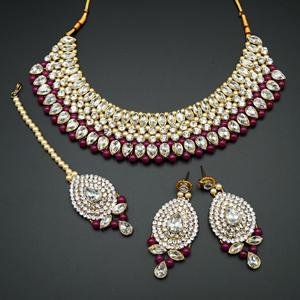 Komal White Diamante/Maroon Beads Choker Necklace Set - Gold