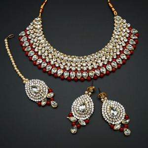 Komal White Diamante/Red Beads Choker Necklace Set - Gold