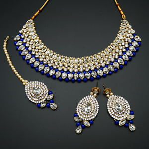 Komal White Diamante/NavyBlue Beads Choker Necklace Set - Gold
