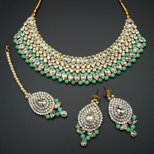 Komal White Diamante/Pista Beads Choker Necklace Set - Gold