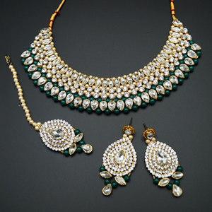 Komal White Diamante/Green Beads Choker Necklace Set - Gold