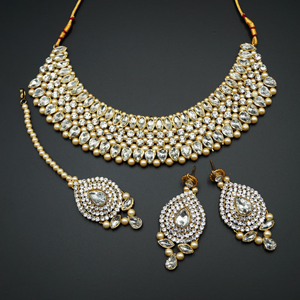 Komal White Diamante and Pearl Choker Necklace Set - Gold