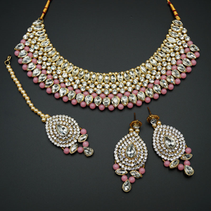 Komal White Diamante/Light Pink  Beads Choker Necklace Set - Gold