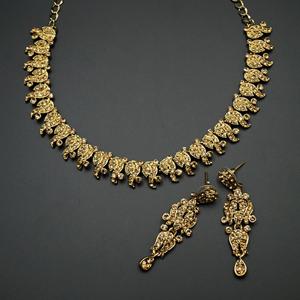Lalip - Gold Diamante Necklace Set - Gold