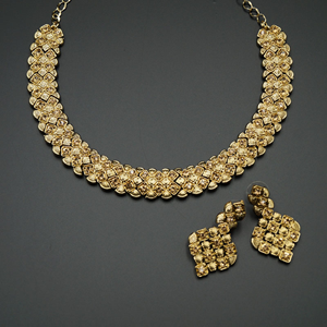 Gaya - Gold Diamante Necklace Set - Gold
