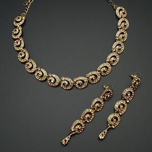 Geby- Gold Diamante Necklace Set - Gold