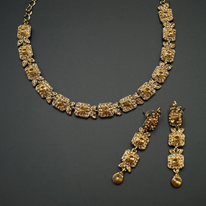 Sia- Gold Diamante Necklace Set - Gold