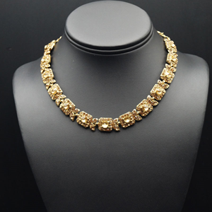Sia- Gold Diamante Necklace Set - Gold