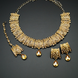 Ehni- Gold Diamante Necklace Set - Gold