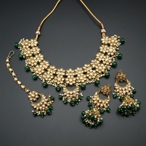 Jiwa Gold Kundan & Green Beads Necklace Set - Antique Gold