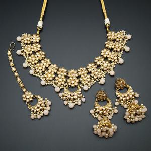 Jiwa Gold Kundan & Light Peach Beads Necklace Set - Antique Gold