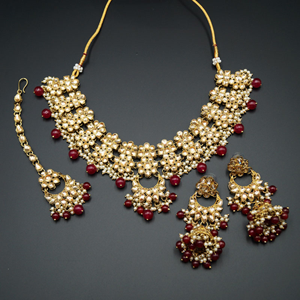 Jiwa Gold Kundan & Dark Pink Beads Necklace Set - Antique Gold