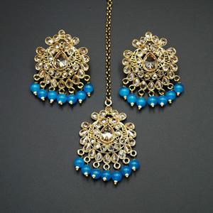 Surata-Turquoise /Gold Polki Stone Earring Tikka Set - Gold