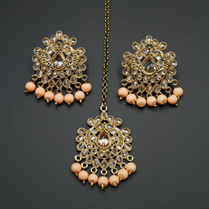 Surata-Peach /Gold Polki Stone Earring Tikka Set -Antique Gold